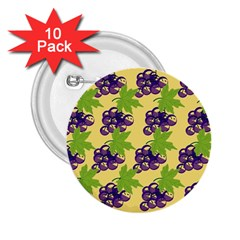 Grapes Background Sheet Leaves 2 25  Buttons (10 Pack)  by Sapixe