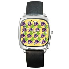 Grapes Background Sheet Leaves Square Metal Watch by Sapixe