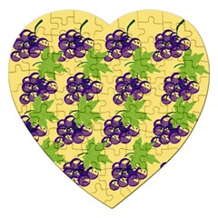 Grapes Background Sheet Leaves Jigsaw Puzzle (heart) by Sapixe