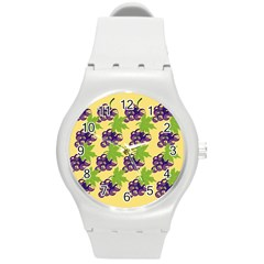 Grapes Background Sheet Leaves Round Plastic Sport Watch (m) by Sapixe
