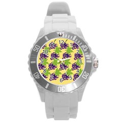 Grapes Background Sheet Leaves Round Plastic Sport Watch (l) by Sapixe
