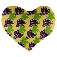 Grapes Background Sheet Leaves Large 19  Premium Flano Heart Shape Cushions
