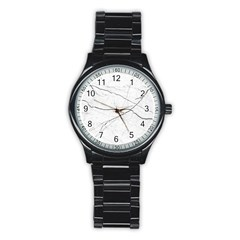 White Background Pattern Tile Stainless Steel Round Watch