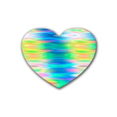 Wave Rainbow Bright Texture Heart Coaster (4 Pack)