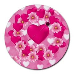 Background Flowers Texture Love Round Mousepads