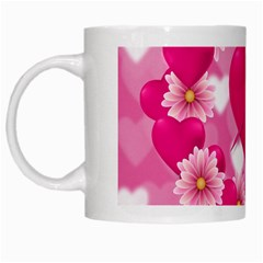 Background Flowers Texture Love White Mugs