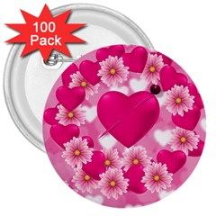 Background Flowers Texture Love 3  Buttons (100 Pack)