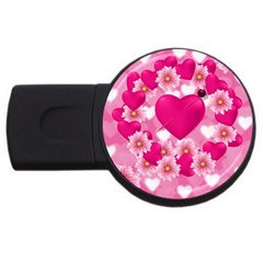Background Flowers Texture Love Usb Flash Drive Round (2 Gb) by Sapixe