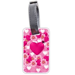 Background Flowers Texture Love Luggage Tags (one Side)  by Sapixe