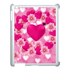 Background Flowers Texture Love Apple Ipad 3/4 Case (white)