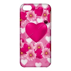 Background Flowers Texture Love Apple Iphone 5c Hardshell Case by Sapixe