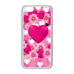 Background Flowers Texture Love Apple Iphone 5c Seamless Case (white)
