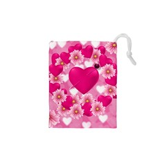 Background Flowers Texture Love Drawstring Pouches (xs)  by Sapixe