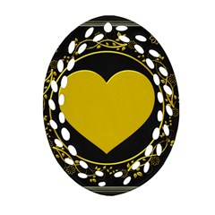 Background Heart Romantic Love Oval Filigree Ornament (two Sides) by Sapixe