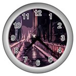 Texture Abstract Background City Wall Clocks (Silver)  Front