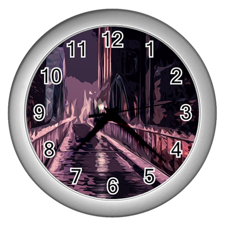 Texture Abstract Background City Wall Clocks (Silver)
