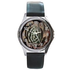 Succulent Green Pink Rosettes Round Metal Watch by Sapixe