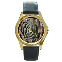 Succulent Green Pink Rosettes Round Gold Metal Watch by Sapixe