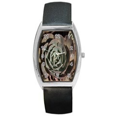 Succulent Green Pink Rosettes Barrel Style Metal Watch by Sapixe