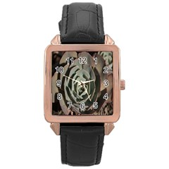 Succulent Green Pink Rosettes Rose Gold Leather Watch  by Sapixe