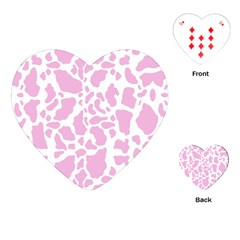 White Pink Cow Print Playing Cards (heart)