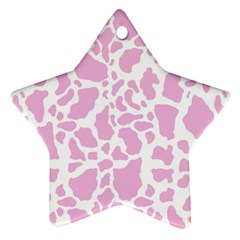 White Pink Cow Print Star Ornament (two Sides) by LoolyElzayat