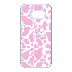 White Pink Cow Print Samsung Galaxy S7 Edge White Seamless Case