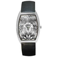 Black And White Fanned Feathers In Halftone Dots Barrel Style Metal Watch by jayaprime
