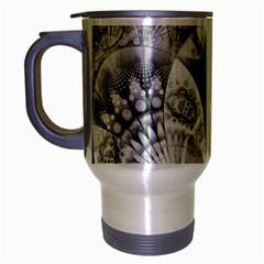 Black And White Fanned Feathers In Halftone Dots Travel Mug (silver Gray) by jayaprime