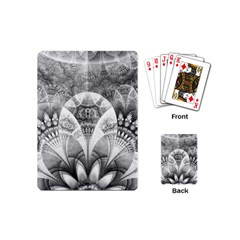 Black And White Fanned Feathers In Halftone Dots Playing Cards (mini)  by jayaprime
