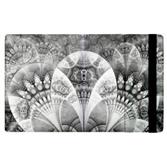Black And White Fanned Feathers In Halftone Dots Apple Ipad 2 Flip Case by jayaprime