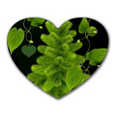 Decoration Green Black Background Heart Mousepads by Sapixe