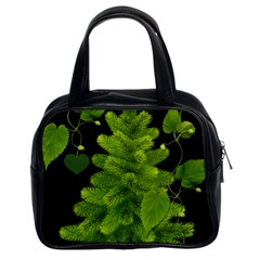 Decoration Green Black Background Classic Handbags (2 Sides) by Sapixe