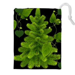Decoration Green Black Background Drawstring Pouches (xxl)
