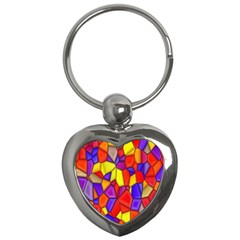Mosaic Tiles Pattern Texture Key Chains (heart)