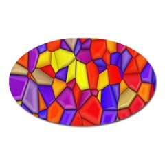 Mosaic Tiles Pattern Texture Oval Magnet by Sapixe