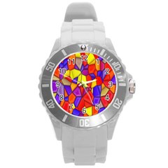 Mosaic Tiles Pattern Texture Round Plastic Sport Watch (l) by Sapixe