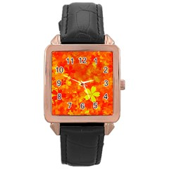 Background Reason Pattern Design Rose Gold Leather Watch