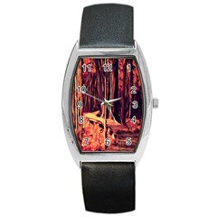 Forest Autumn Trees Trail Road Barrel Style Metal Watch