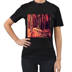 Forest Autumn Trees Trail Road Women s T Shirt (black) by Sapixe