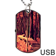 Forest Autumn Trees Trail Road Dog Tag Usb Flash (two Sides) by Sapixe