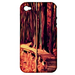 Forest Autumn Trees Trail Road Apple Iphone 4/4s Hardshell Case (pc+silicone) by Sapixe