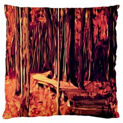 Forest Autumn Trees Trail Road Large Flano Cushion Case (one Side) by Sapixe