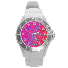 Background Desktop Mosaic Raspberry Round Plastic Sport Watch (l) by Sapixe