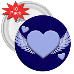 Background Texture Heart Wings 3  Buttons (10 Pack)  by Sapixe