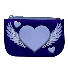 Background Texture Heart Wings Large Coin Purse