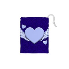 Background Texture Heart Wings Drawstring Pouches (xs)  by Sapixe