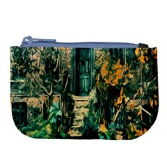 Porch Door Stairs House Large Coin Purse