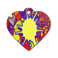 Embroidery Dab Color Spray Dog Tag Heart (one Side)