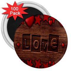 Background Romantic Love Wood 3  Magnets (100 Pack) by Sapixe